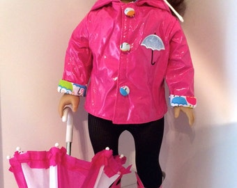 Raincoat Umbrella and Boots for 18 Inch Doll ClothesColorful Hot Pink w/ Umbrellas inside for the Lining Also Fit American Girl Doll Clothes