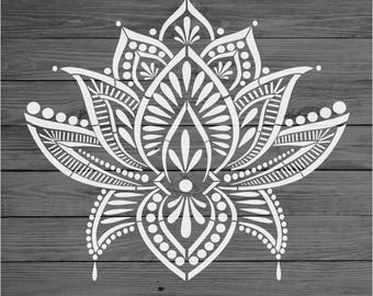 Stencil Mylar re-usable shabby chic vintage LOTUS MANDALA 310 mm x 280 mm 2904 (Two part stencil)