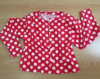 cotton polka dot blouse in lipstick red  edgy shoulders M