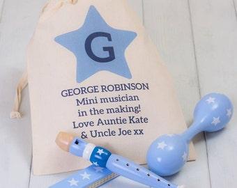 Children's Blue Musical Instruments Set And Storage Bag