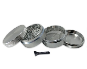 """Chrome 4 Piece 2.5"""" Weed Grinder - Comes with Travel Pouch and Kief Scraper - Made with Anodized Aluminum"""