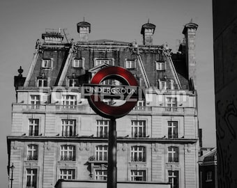 Photo of Underground - London, photography prints, black and white, England, London, sign, wall decor, London picture, Fine Art Print