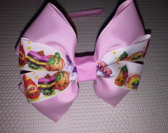 Shopkins bow on solid resin headband