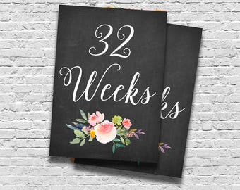 Weekly Pregnancy Signs, Pregnancy Cards, Chalkboard Floral Pregnancy Signs, Pregnant Photo Props, Baby Week Signs, Maternity Prints,