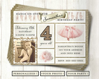 Ballerina Birthday Invitation, Personalized, Birthday, Tutu, Invites, Ballet, Dancer, Your Photo, Digital Download, Printable, 5x7