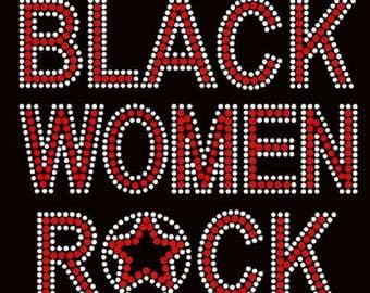 Rhinestone Black Women Rock Lightweight T-Shirt or DIY Iron On T Shirt Transfer                            U1M7