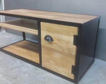 Industrial TV stand wood oak matte black steel