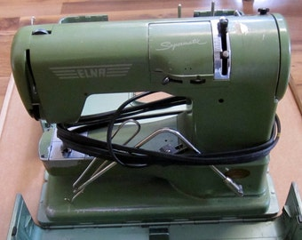 Vintage Elna Supermatic Sewing Machine 722010 With Hard Case