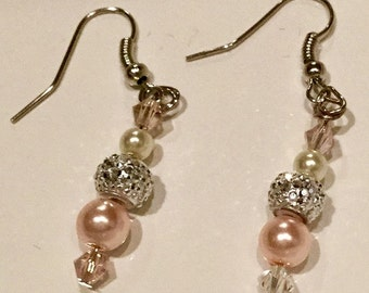 Pink glass pearl and Swarvoski crystal earrings