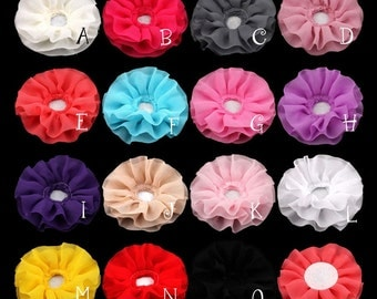 "Free Shiipping 30pcs 4"" 15colors Solid DIY Big Ruffled Chiffon Flower For Children Hair Accessories Artificial Fabric Flowers For Headbands"