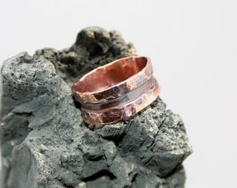 Men's 10mm Hammered Copper Band Size 14 1/2-14 3/4