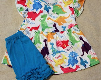 Girls Blue Ruffle Dinosaur Set, Boutique Outfit, Girls Summer Outfit, Birthday Outfit, Girls Dinosaur Outfit,Vacation Outfit
