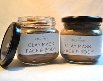 350g/ml (12.5oz) Pale Irish: Natural Bentonite Clay Mask,  Skin Cleaning Acne Mask for Face & Body - Mud Mask - Facial Mask