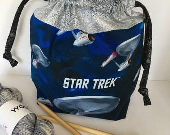 KNIT and crochet bag STAR TREK Lined drawstring bag wip bag sock knitting bag