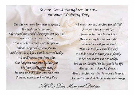 Poem To Son And Daughter In Law On Your Wedding Day