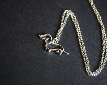 silver tone sausage dog dashound necklace