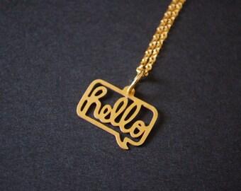 metal cut Hello speech bubble necklace