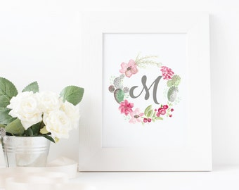 Custom Printables, Monogram Art, Personalized Printable, Letter Prints, Personalised Gift, Digital Print, Initial Art, Customised Gifts
