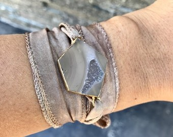 Druzy Stone Silk Wrap Bracelet