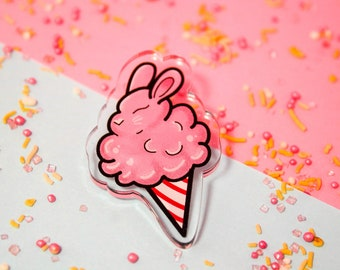Bunny cotton candy! - Laser Cut Illustrated Acrylic Brooch - tattoo flash design pin collar clip cotton candy