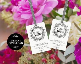 Sparkler Send Off Tag INSTANT DOWNLOAD Editable Sparkler Tag, Let Love Shine Sparkle, Sparkler Send Off, Wedding Sparkler Tags - Audrey