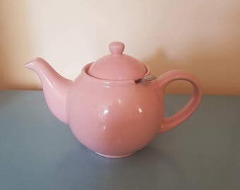 Retro Pink tea pot with tea strainer