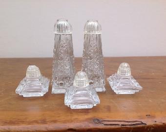 Vintage Pressed Glass Salt and Pepper Shakers Set of 5