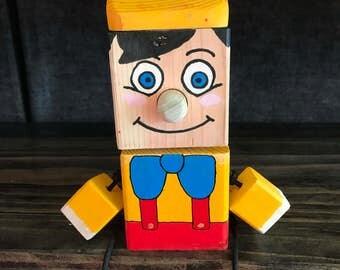 Hand made wooden Block Buddy - Pinnochio