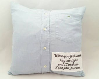 Men's shirt cushion, personalised cushion, remembrance cushion, memory cushion, keepsake cushion, cushion from loved ones clothing, memorial