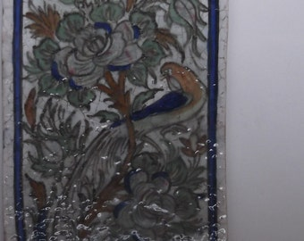 Persian tile with image of bird on branch