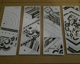 Mindless Geometrical. Handmade bookmarks. Ink on paper.