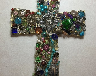 Jewely cross. Made from costume and vintage jewels.