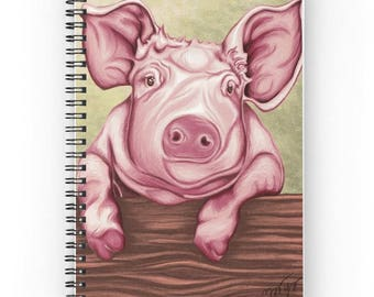 Spiral notebook for journal sketch zentangle, pig pattern