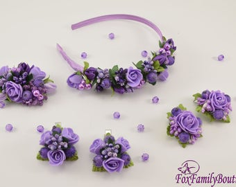 Violet headbands - Flower crown - rose crown - Floral hair wreath - Flower headpiece -Flower hair accessories-Hair clips-Hair picks-Hairpins