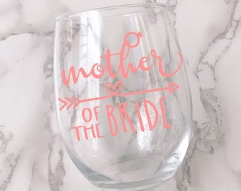Mother of the Bride Wine Glass Decal - DECAL ONLY