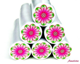 Polymer clay flower cane: Raw polymer clay cane - Millefiori cane supplies - Magenta and green flower cane - Supplies for jewelers