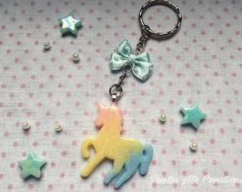 Rainbow Unicorn key ring