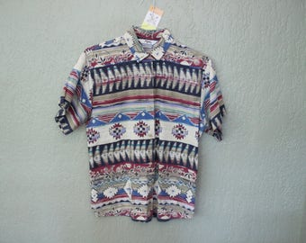 Vintage Aztec Boho Button Up Short Sleeve Top *Flat Rate Shipping* [Cute Vintage Top Shirt Blouse Women's Size Large] Cotton