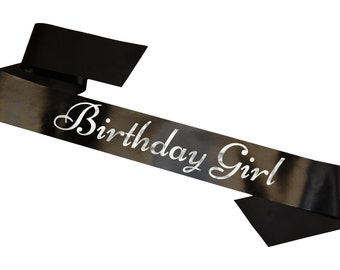 Birthday Girl Sash Available in 15 Different Colours 160cm Classy Satin Personalised