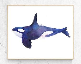 Original Orca Killer Whale Watercolour Fine Art Print, Coastal Decor, Beach House Printable Digital Download