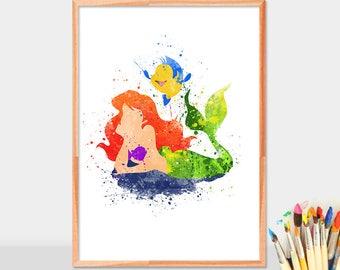 Ariel, Princess, Disney, Little Mermaid, Watercolor Art, Poster, Decorate, Accessories, Gifts