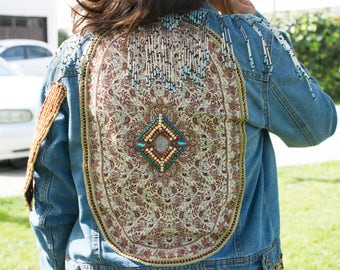 Beaded and Spangled Jeans Jacket Hand-sewn with Persian Cashmere Fabric Size Large