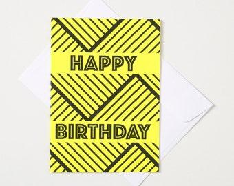 Greeting Card - Fluro / Chevron Band