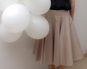 Beige knee length full skirt, cotton stretch // beige skirt / full skirt / formal skirt / knee length skirt