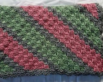 Crochet baby blanket, baby afghan, pink baby blanket, pink baby afghan, green baby blanket, green baby afghan