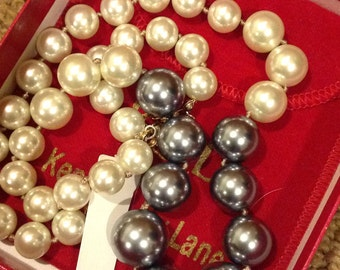 KJL Kenneth J Lane Black & White Pearl Necklace