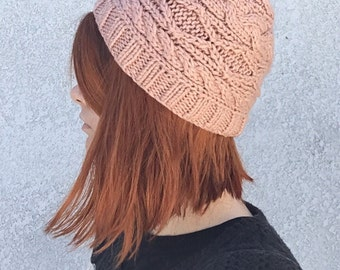 Dusty Pink Fitted Knit Cap