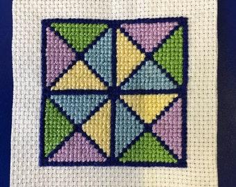 Geometric cross stitch coaster
