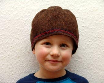 CAP, Viking, RUS, embroidered, herringbone, Gr. 51, wool, linen, children
