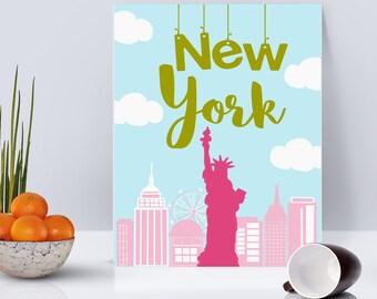 New York City Illustration Printable Art
